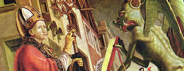 Il diavolo regge a sant'Agostino il libro dei vizii, 1483