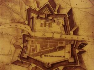Una piantina dell'antico forte borbonico eretto nel Cinquecento a Pescara