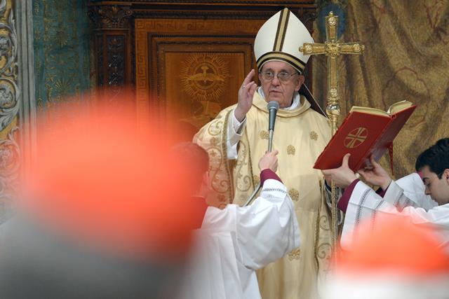 Città del Vaticano 14 Marzo 2013 Papa Francesco presiede la S.Messa con i Cardinali in Cappella SistinaVatican City 14 March 2013 Pope Francis leads the Holy Mass with Cardinals in Sistina Chapel
