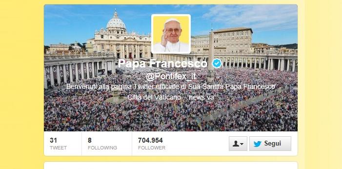 L'account @Pontifex di Papa Francesco su Twitter