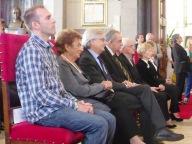 Da sinistra il padre di Matteo Ferrarini, la madre di Andrea Pazienza, Geremia Mancini, Franco Farias, Mons. Amadio e la vedova Berardinucci