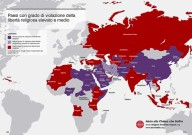 La cartina, elaborata da Fondazione pontificia Aiuto alla Chiesa che soffre, che mostra la diminuzione crescente della libertà religiosa