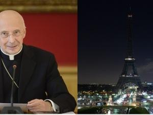 Il cardinale Angelo Bagnasco e, a fianco, la Tour Eiffel spenta in memoria delle vittime di Charlie Hebdo
