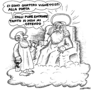 Una vignetta ironica, pubblicata sul Corriere della Sera, dedicata alle vittime di Charlie Hebdo