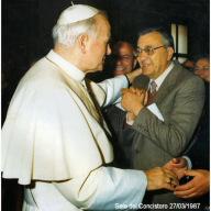 Franco Previte, presidente  di Cristiani per servire, con Giovanni Paolo II