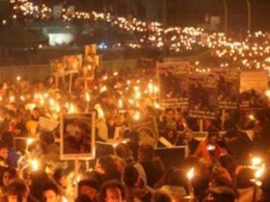 La fiaccolata che, ieri notte, ha ricordato le 309 vittime del terremoto aquilano