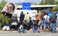 La frontiera italo-francese di Ventimiglia invasa dai migranti con, a lato, Padre Lorenzo Prencipe