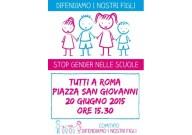 La locandina ufficiale della manifestazione di domani, in piazza San Giovanni in Laterano a Roma