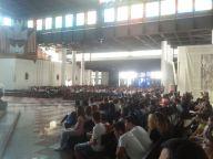I giovani, alle ore 10, appena giunti al Santuario di San Gabriele