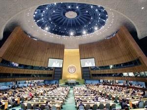 L'aula in cui si riunisce l'Assemblea generale delle Nazioni Unite, nel Palazzo di vetro a New York