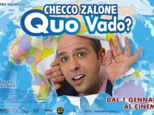 """La locandina di """"Quo vado"""", l'ultimo film di Checco Zalone, diretto da  Gennario Nunziante"""