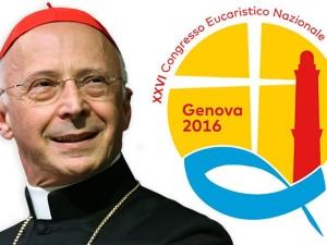Il cardinale Angelo Bagnasco, arcivescovo di Genova e presidente Cei, con il logo del 26° Congresso eucaristico nazionale