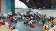 Un'immagine del Palasport di Penne, sede del Centro di coordinamento dei soccorsi