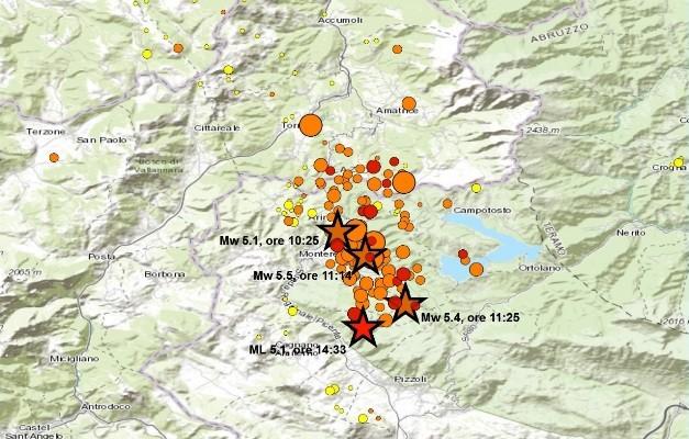 La sequenza sismica che ha interessato oggi la provincia dell'Aquila - Foto Ingv